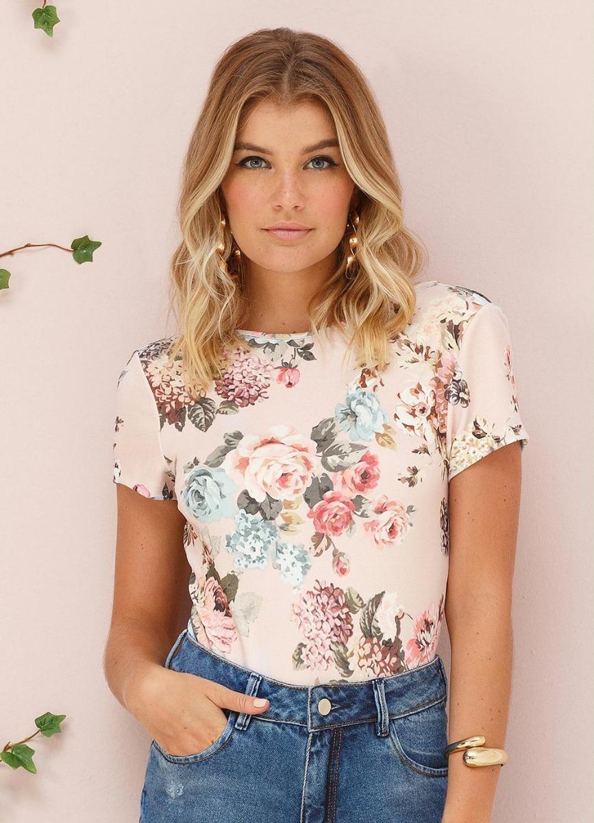 32d2e8c7e Body Floral Rosa Doce Trama - R$ 82,00 em Mercado Livre