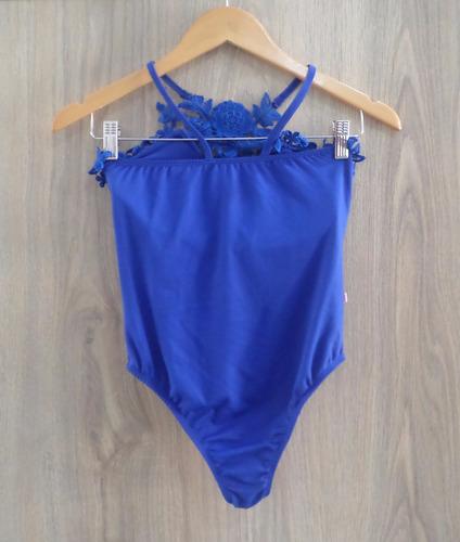 body gaby lucas com guipir e com bojo - cor azul bic