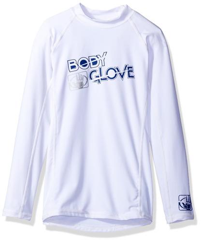 body glove boys l-a rashguards básicos ajustados, blanco, 10