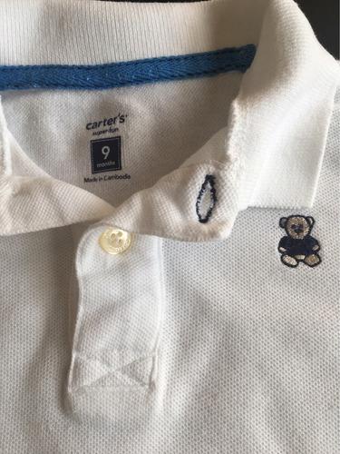 body gola polo com manga curta carter's 9 meses menino urso