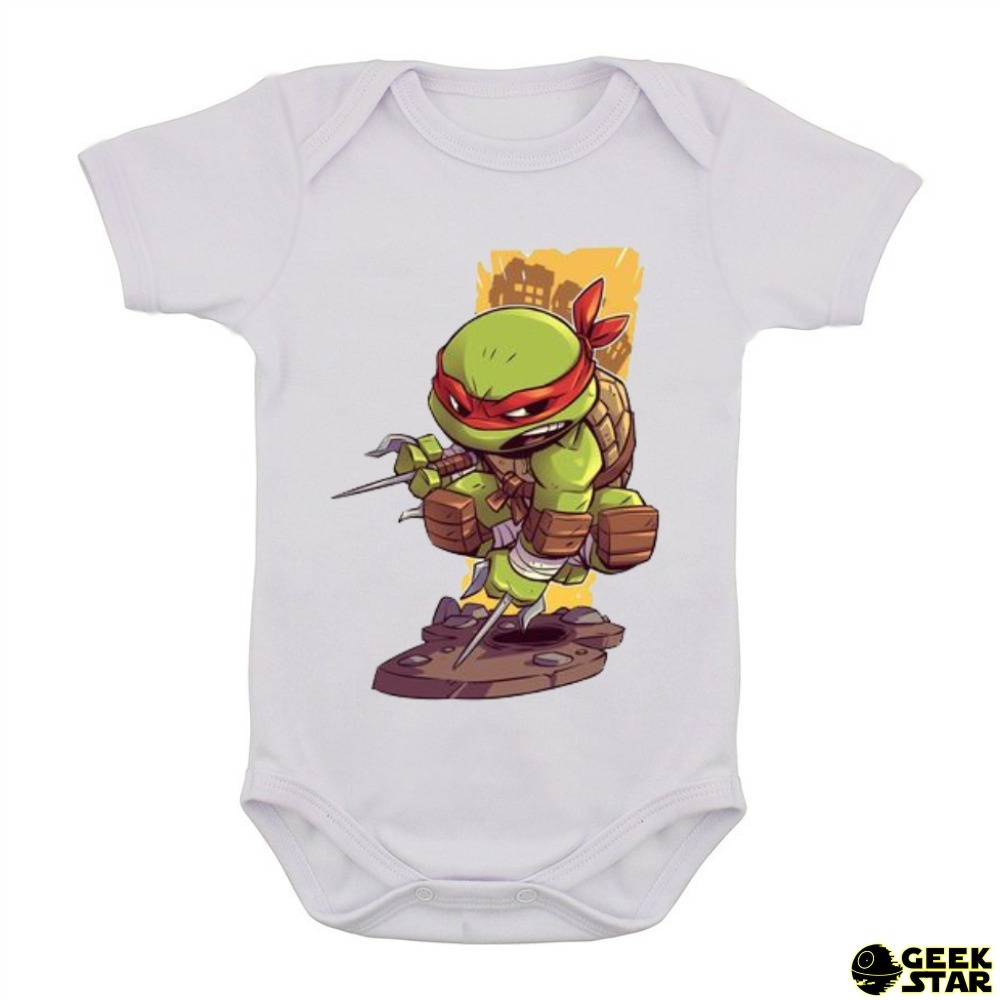 body infantil chibi tartarugas ninja desenho geek bebê 2. Carregando zoom. e6a7d19304f