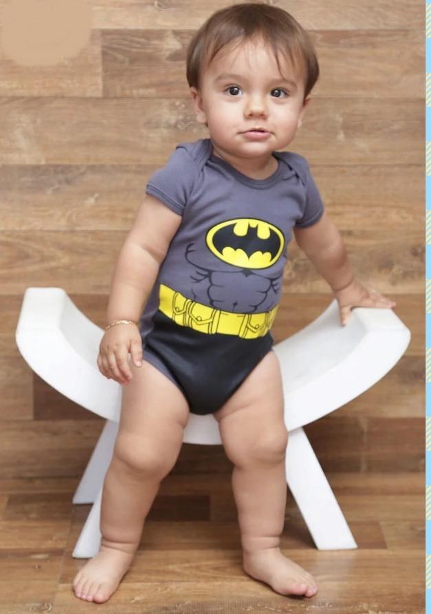 2274962fb8 Body Infantil Personalizado Preto Super Herois Batman - R  25