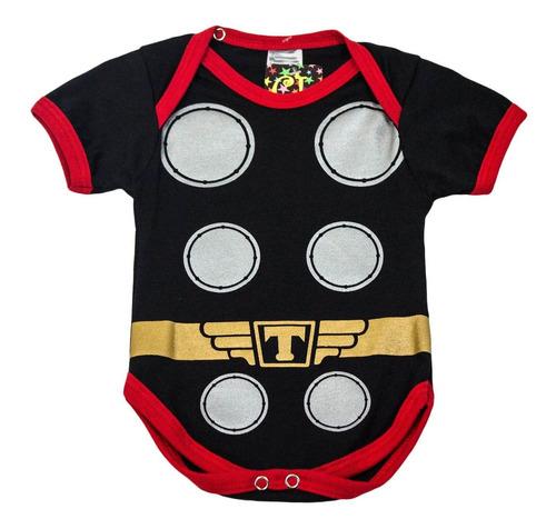 body infantil super heroi thor com capa festa mesversario