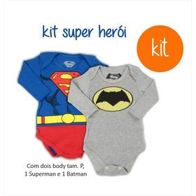 Body Infantil Super Homem E Batman Personagem Super Heróis