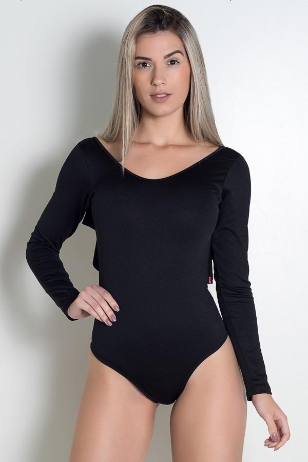 c811893aef Body Liso Costa Aberta Com Babado (preto) - R  50