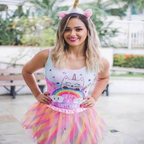 body maiô feminino unicornio fantasia adulta carnaval 2018