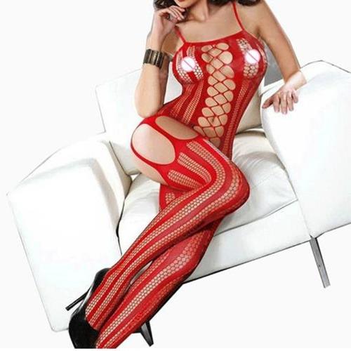 body malla, leggings lencería sexy para damas (rojo)