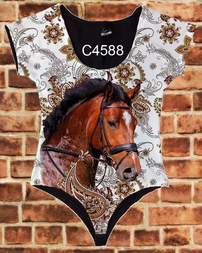body manga curta feminino cavalo marrom c5988
