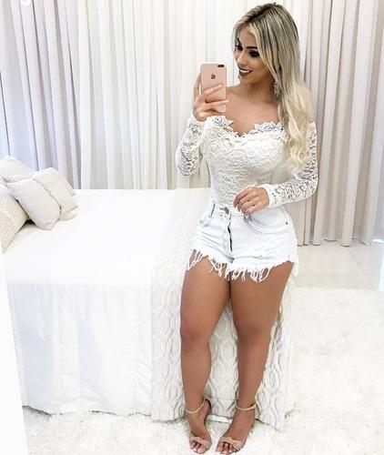 body manga feminino blusa body