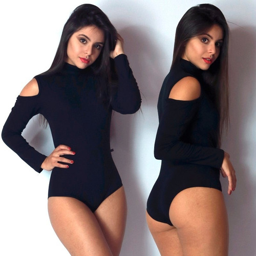 body manga longa feminino blusa collant ombro cavado trend