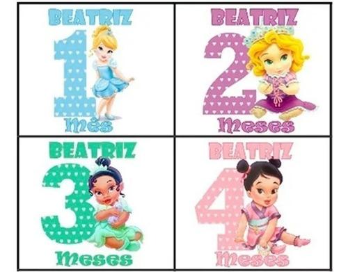 body mesversario princesas personalizados kit 12 bodies bebê