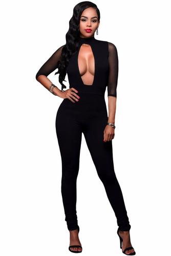 body negro completo sexy amplio escote transparencias 64226