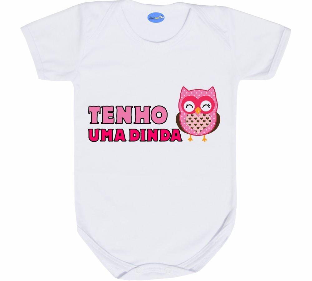 Body Para Bebê Divertido Tenho Uma Dinda Coruja Frases Fofas