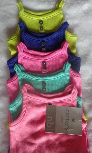 body regata-carter's- 5 peças, rosa, azul e verde - original