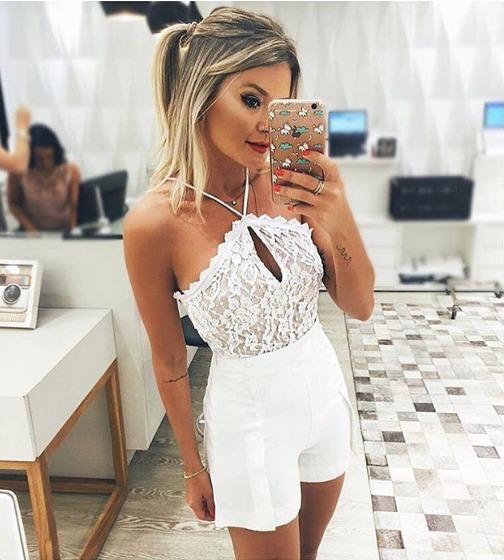 98fa6d9a5 Body Renda Branco Com Fundo Nude Moda Blogueira - R  69