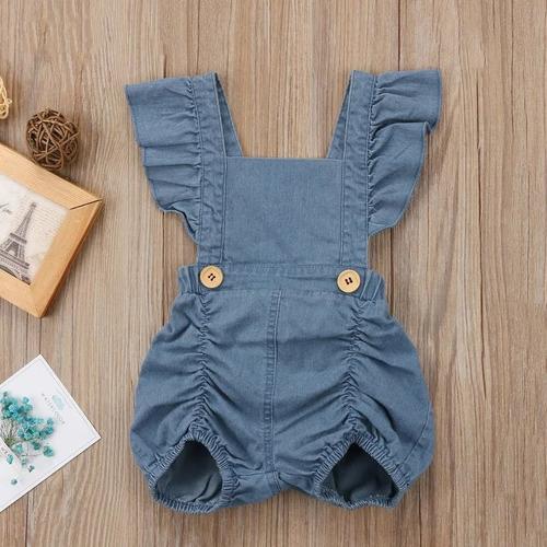 body romper jardineira curta retrô baby jeans ajustável