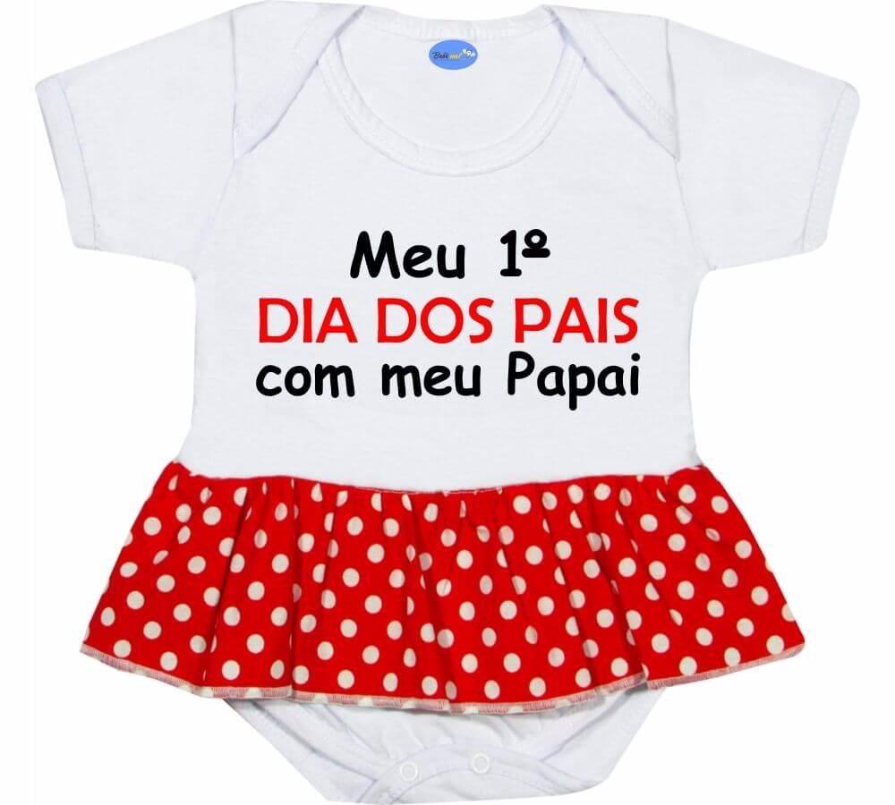 Body Saia Meu Primeiro Dia Dos Pais Roupa Bebê Menina Frase R 45