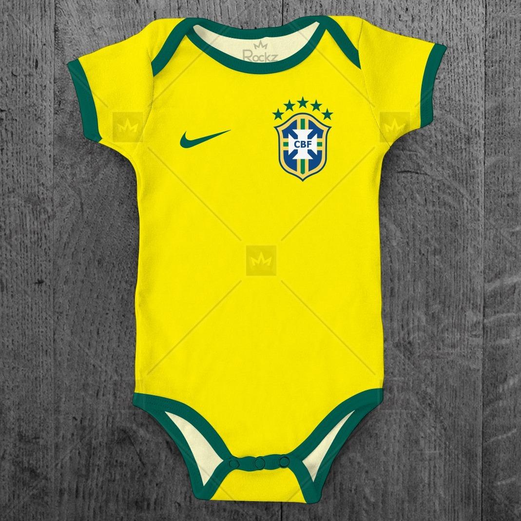 Body Seleção Brasileira Brasil Bebê Personalizado C  Nome - R  49 24ee240febeb0