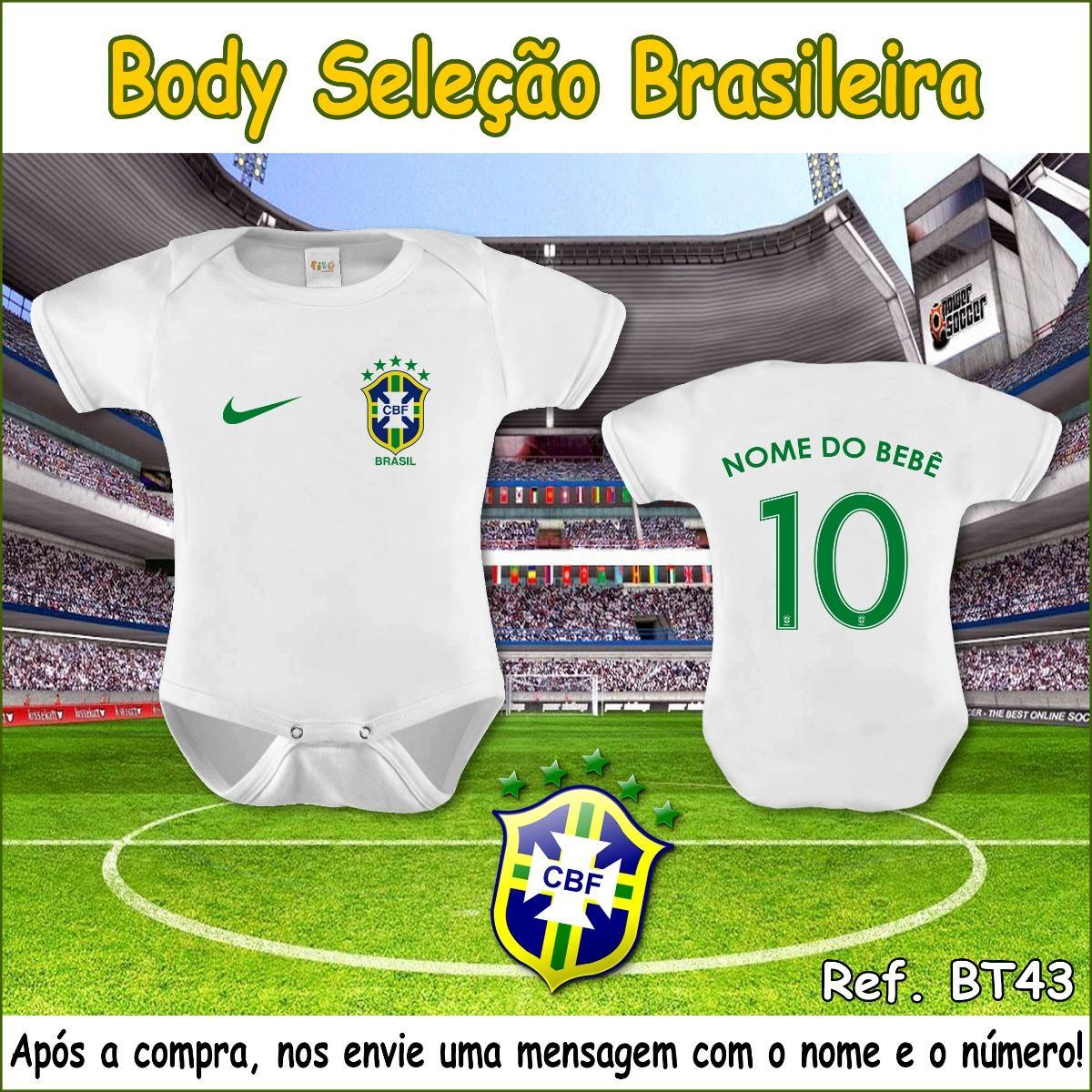body seleção brasileira time futebol bebê nome personalizado. Carregando  zoom. 4027051da37ed