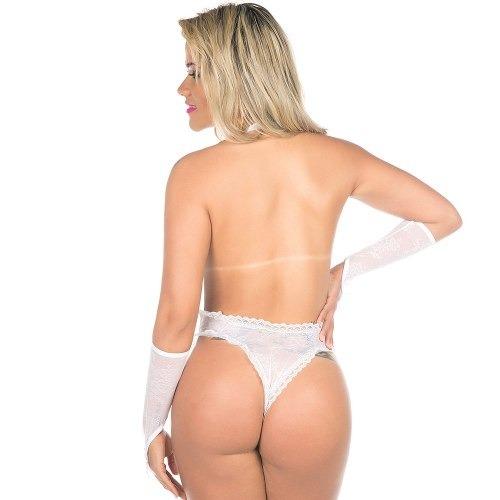 bd97b6d53 Body Sensual Fashion Rendado Branco Pimenta Sexy - R  53