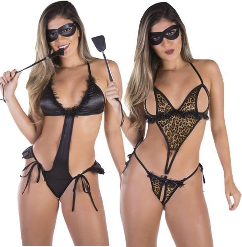 body sensual lingeries sexy completo  chicote e mascara 2