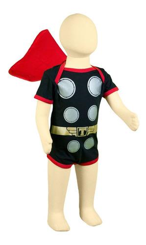 body thor com capa super herói 0 à 12 meses