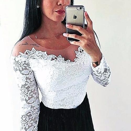body tule guipir renda manga longa feminino blusa body renda
