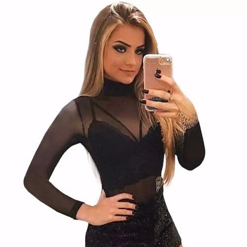 body tule transparente + cropped renda grátis promoção 768