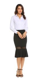 a19dbd6f6 Bodycon Cola Lápiz Faldas Mujer Alta Cintura Encaje