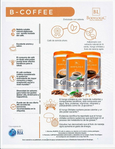 bodylogic b-coffee 2 pack variedad de sabores a elegir