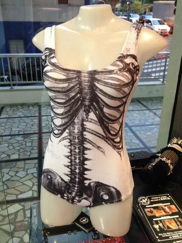 body/maio de esqueleto caveira rockwear feminino alternativo