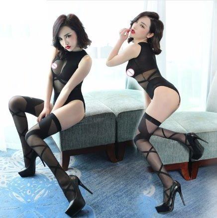 bodystocking negro liso, 2 piezas: body+medias. lineas, sexy