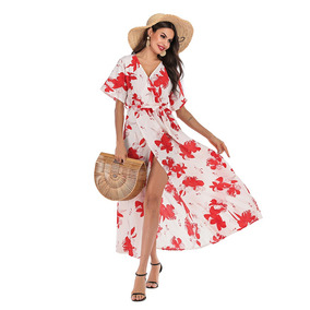6974407809bd Boho Vestido V Cuello Sexy Impreso Playa Boho Maxi Vestido