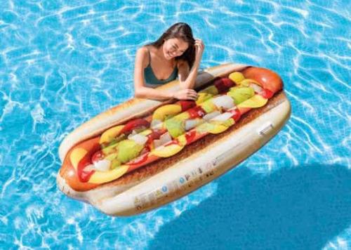 boia colchão inflável piscina divertida hotdog 1.08x89cm