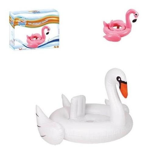 boia com assento infantil flamingo cisne baby 70cm inflavel