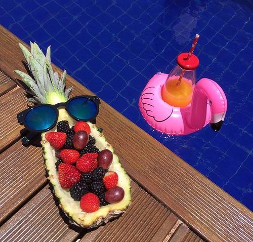 boia flamingo porta copo inflável para piscina