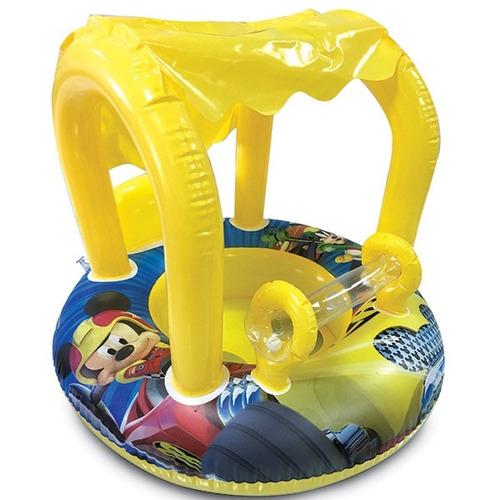 boia infantil bebe com cobertura bote do mickey guarda sol