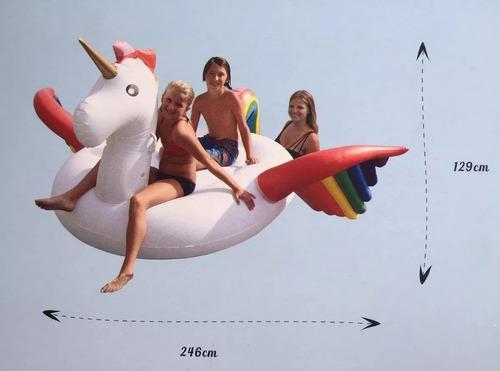 boia inflável flutuante unicórnio adulto gigante 246 cm