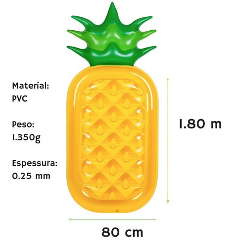 bóia inflável gigante abacaxi para piscina - pronta entrega