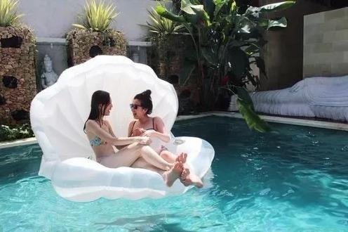bóia inflável gigante concha - pronta entrega