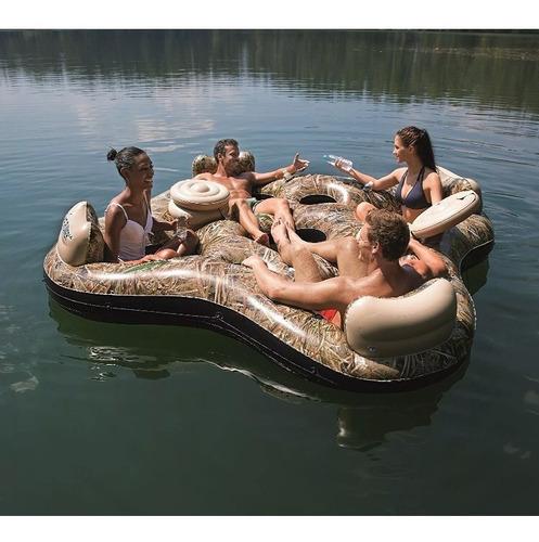 boia inflável para 4 pessoas com 2 coolers e porta copos