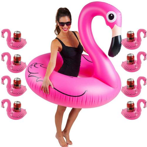 boia piscina flamingo gigante + 8 porta copo flamingo