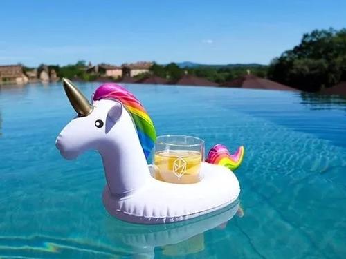 bóia unicórnio inflável porta copo piscina pool party