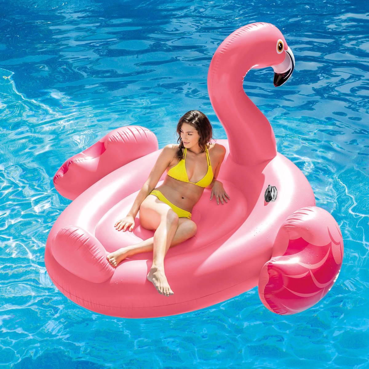 Boias piscina intex flamingo gigante pronta entrega r for Caillou na piscina