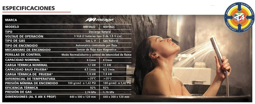 boiler instantaneo 6 litros mirage gas natural