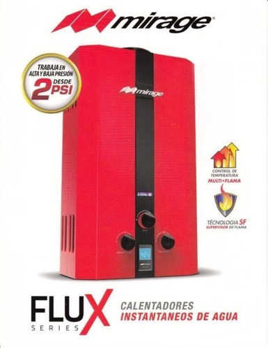 boiler instantaneo 6 litros mirage rojo gas lp
