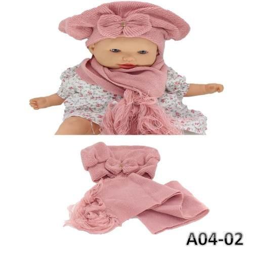Boina E Cachecol Lã Infantil Bebê Crochê C  Laço E Strass - R  28 36ca04e7427