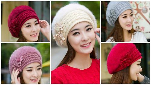 boina fashion mujer winter warm cap knitted hat rabbit fur /