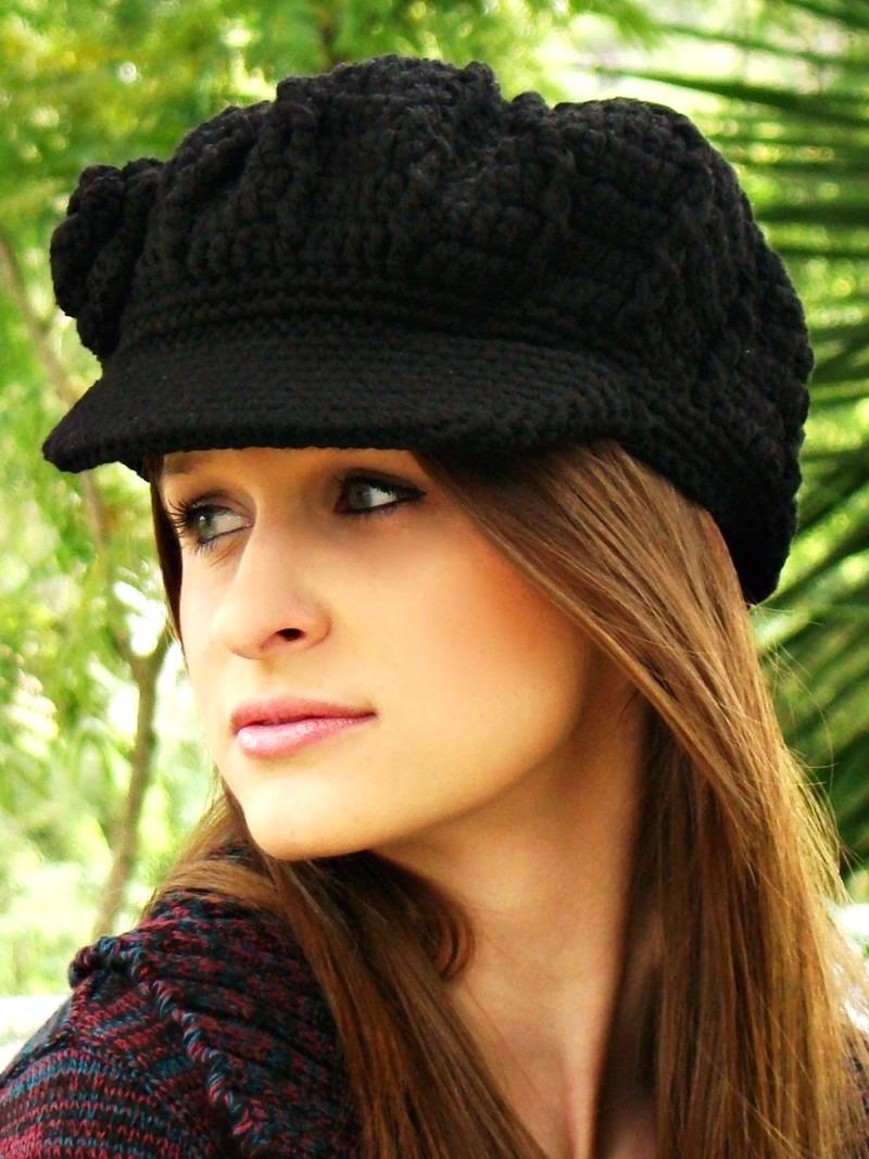 boina feminina de crochê em lã com aba. Carregando zoom. fb2ea216063