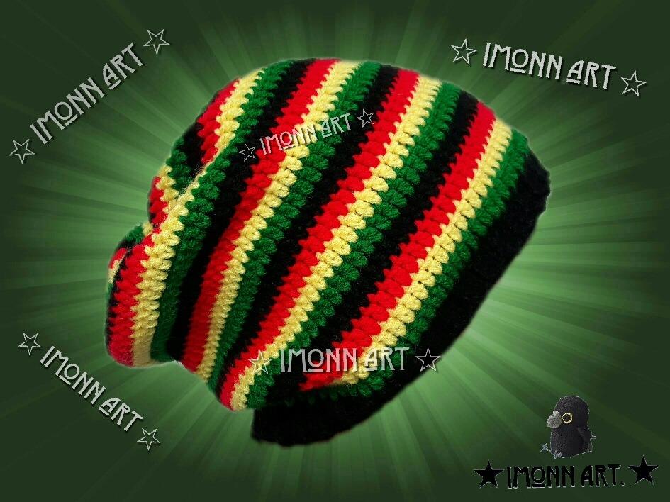 Boina - Gorro Rasta Con Caida, Tejido A Mano, Crochet! - $ 230.00 en ...